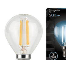Лампа Gauss LED Filament Globe E14 7W 4100K 1 10 50 105801207