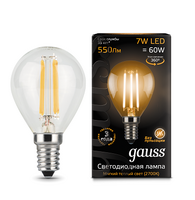 Лампа Gauss LED Filament Globe E14 7W 2700K 1 10 50 105801107