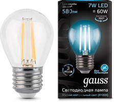 Лампа Gauss LED Filament Globe E27 7W 4100K 1 10 50 105802207