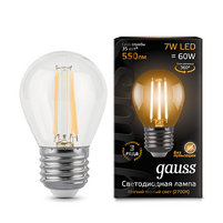 Лампа Gauss LED Filament Globe E27 7W 2700K 1 10 50 105802107