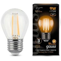 Лампа Gauss LED Filament Globe E27 9W 2700K 1 10 50 105802109