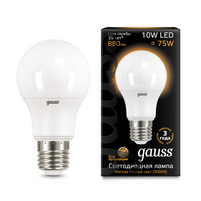 Лампа Gauss LED A60 10W E27 3000K 1 10 50 102502110