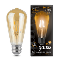 Лампа Gauss LED Filament ST64 E27 6W Golden 2400К 1 10 40 102802006